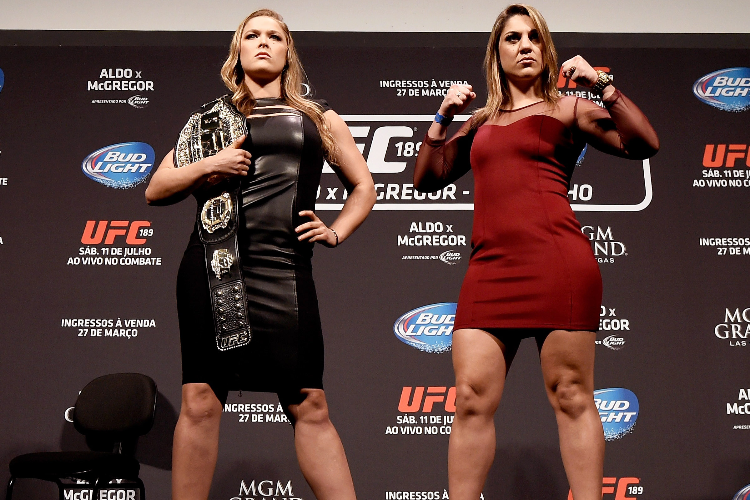 RIO DE JANEIRO, BRAZIL - MARCH 20:  UFC Women's Bantamweight Champion Ronda Rousey of the United States (L) and Bethe Correia of Brazil (R) pose for the media during the 189 World Media Tour Launch press conference at Maracanazinho on March 20, 2015 in Rio de Janeiro, Brazil.  (Photo by Buda Mendes/Zuffa LLC/Zuffa LLC via Getty Images)
